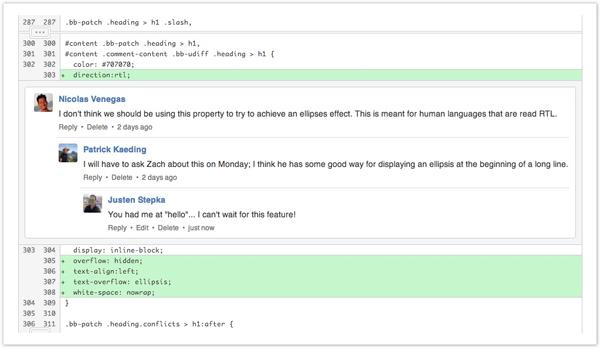 نمونهای از قابلیت ثبت دیدگاه در زمان فرایند بازبینی کد در بیتباکت
